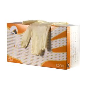 Перчатки смотровые латексные неопудренные, однократного хлорирования, текстурированные, натуральный