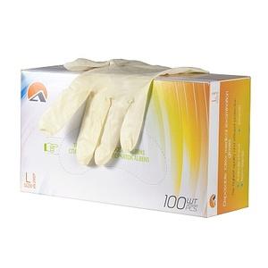 Перчатки высокой тактильной чувствительности смотровые латексные неопудренные, с полимерным покрытием, гладкие, натуральный