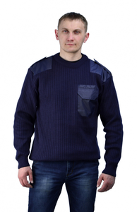 Джемпер п/ш форменный т-синий с накладками