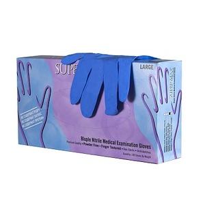 """Перчатки медицинские смотровые """"Супермакс"""" нитриловые, неопудренные, текстурированные на пальцах, синие"""