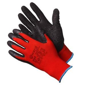 Перчатки с черным текстурированным латексом красные нейлоновые Gward Red
