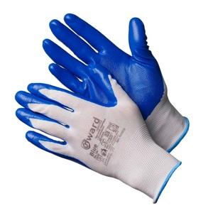 Перчатки из белого нейлона с синим нитриловым покрытием Gward Blue