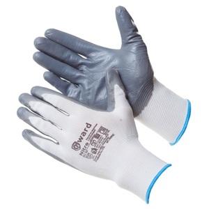 Перчатки из белого нейлона с серым нитриловым покрытием B-класса Gward Nitro