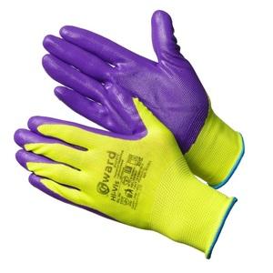 Перчатки ярко-зеленые нейлоновые с фиолетовым нитрилом покрытием Gward Hi-Vis