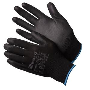 Перчатки нейлоновые черные с черным полиуретаном Gward Black